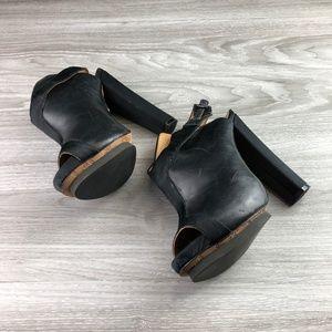 L.A.M.B. Black Heeled Open Toe Mules